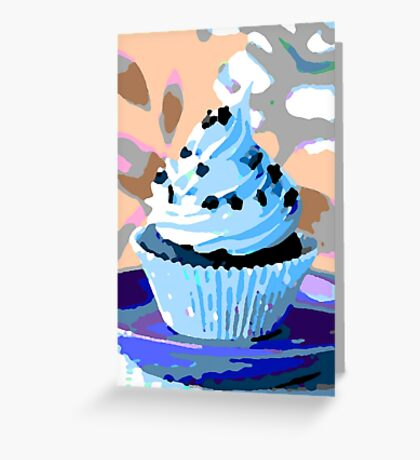 Chocolate Cupcakes with Blue Buttercream Greeting Card