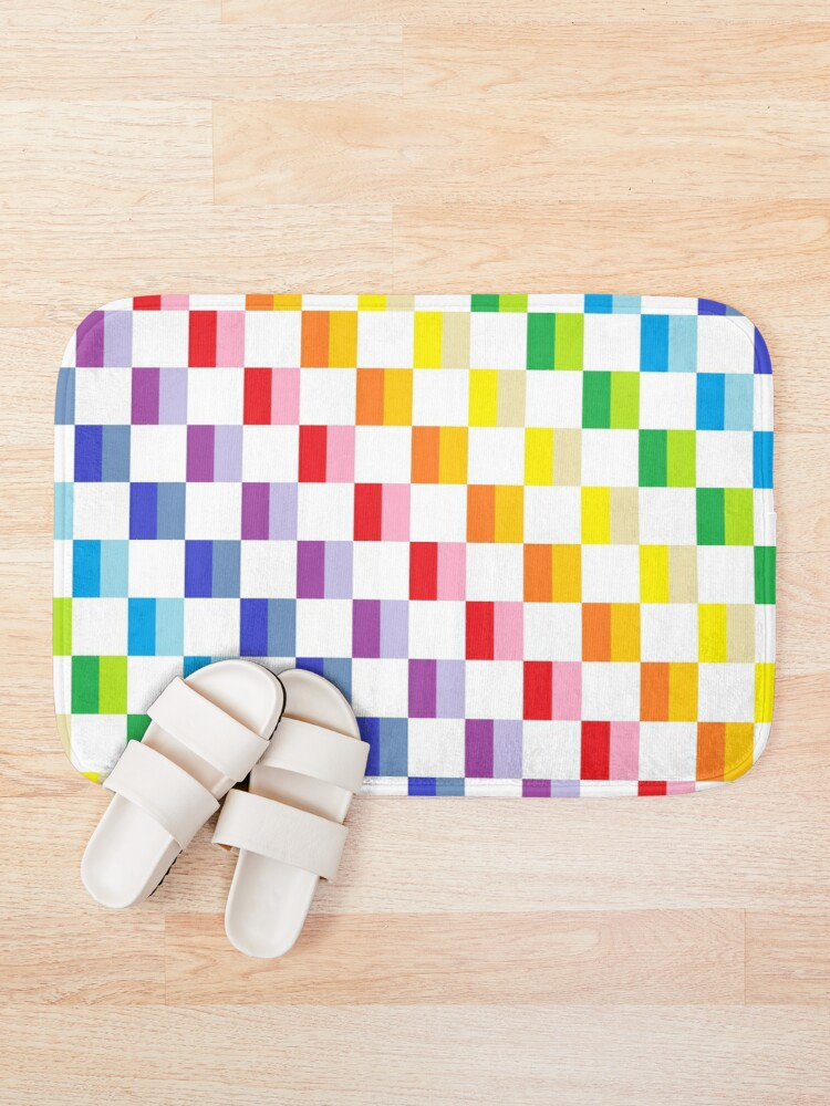 Alternate view of Checkered Broader Spectrum Rainbow Bath Mat
