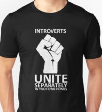 Introverts Unite (white on dark) Unisex T-Shirt