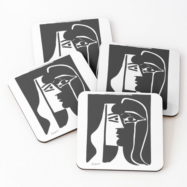 Pablo Picasso Kiss 1979 Artwork Reproduction For T Shirt, Framed Prints Coasters (Set of 4)