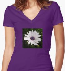 Beautiful Osteospermum White Daisy With Purple Center  Women's Fitted V-Neck T-Shirt