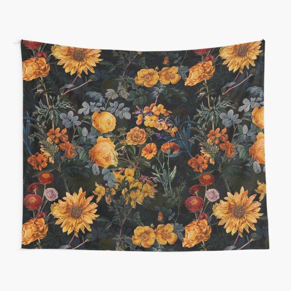 Vintage Botanical Golden Night Garden Tapestry