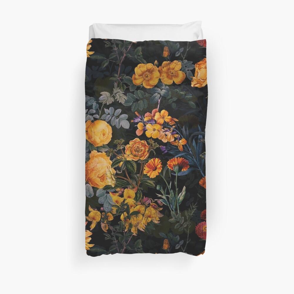 Vintage Botanical Golden Night Garden Duvet Cover