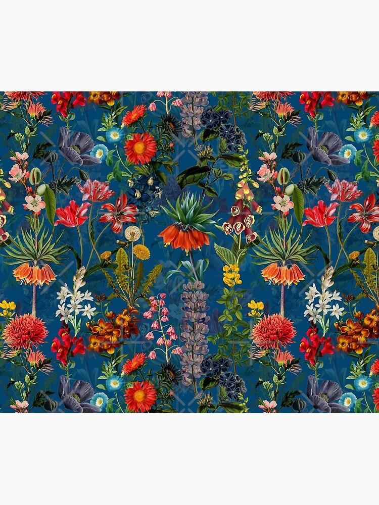 Vintage Blue Springflower Meadow Night by UtArt