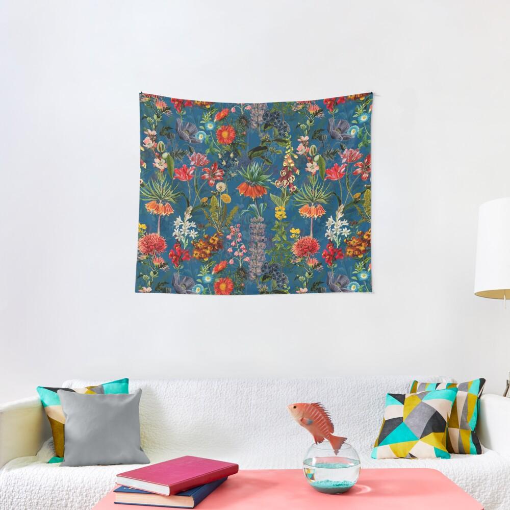 Vintage Blue Springflower Meadow Night Tapestry