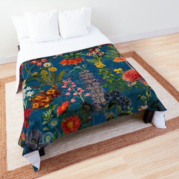 Vintage Blue Springflower Meadow Night Comforter
