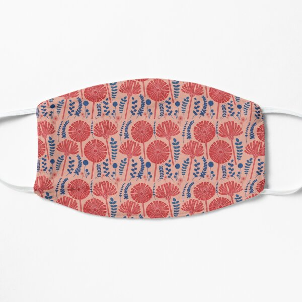 Red flowers in blue Flat Mask