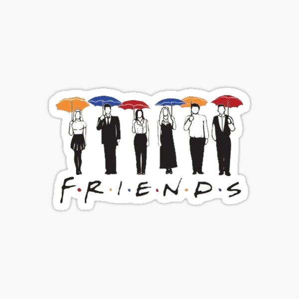 F R I E N D S - Mit Charakteren und Regenschirmen Sticker