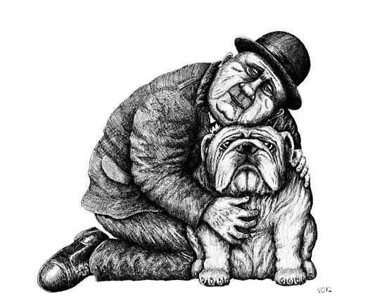 Man and Bulldog pen ink black and white drawing by Vitaliy Gonikman