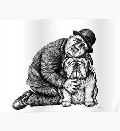 Man and Bulldog pen ink black and white drawing Poster