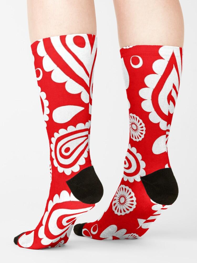 Alternate view of Red Hanky Code Socks