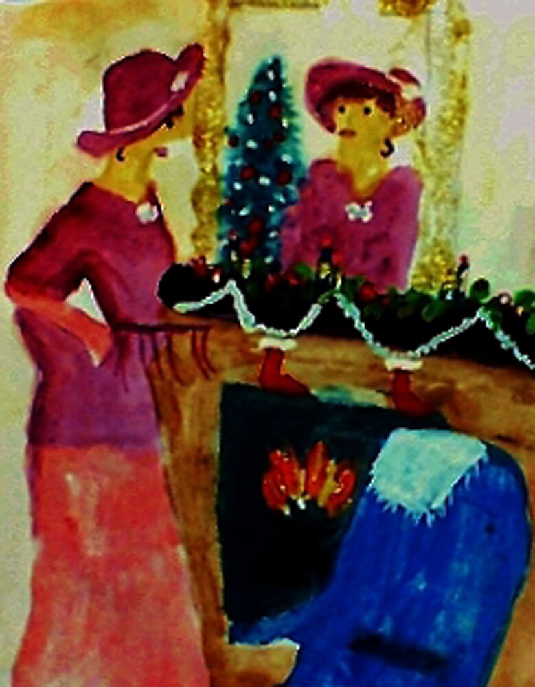 We are ready for Christmas, watercolor by Anna  Lewis, blind artist