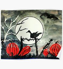 Raven on fence post on Halloween, watercolor Poster
