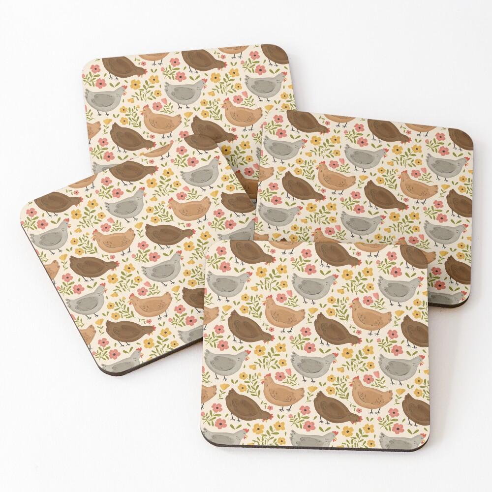 Springtime Chickens Coasters (Set of 4)