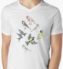 Illustrierte Vögel T-Shirt mit V-Ausschnitt für Männer