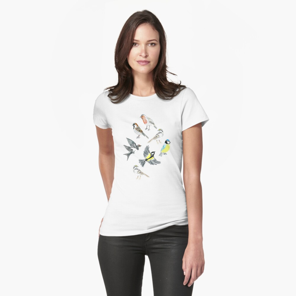 Illustrated Birds Fitted T-Shirt