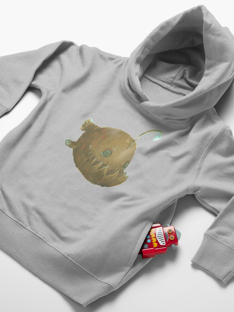Alternate view of Cute Cartoon Angler Fish - Painted Illustration Toddler Pullover Hoodie