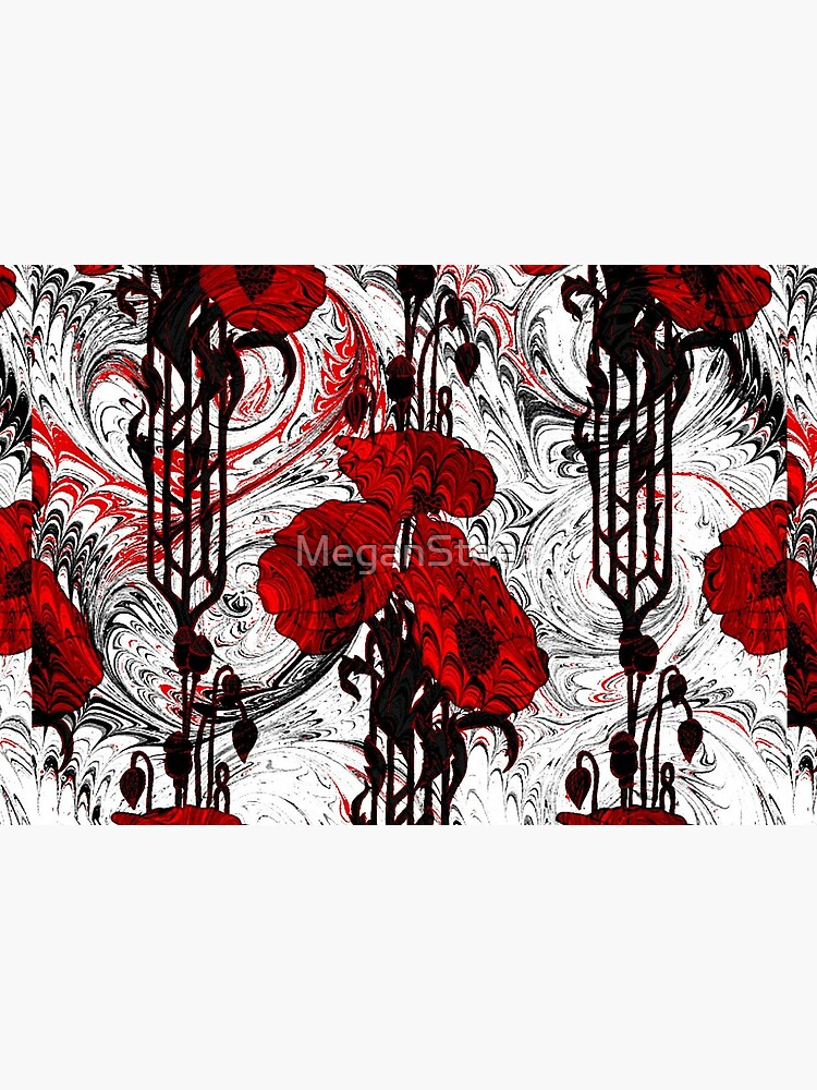 Art Nouveau Poppy Dream III, Red, Black and White by MeganSteer