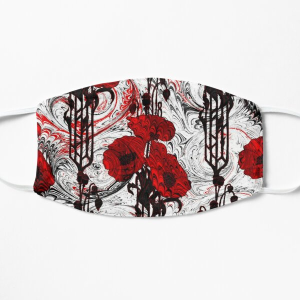 Art Nouveau Poppy Dream III, Red, Black and White Mask