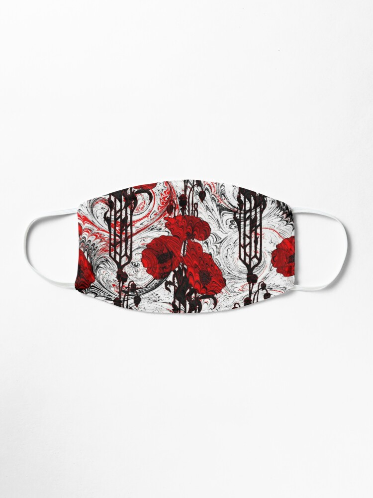 Alternate view of Art Nouveau Poppy Dream III, Red, Black and White Mask