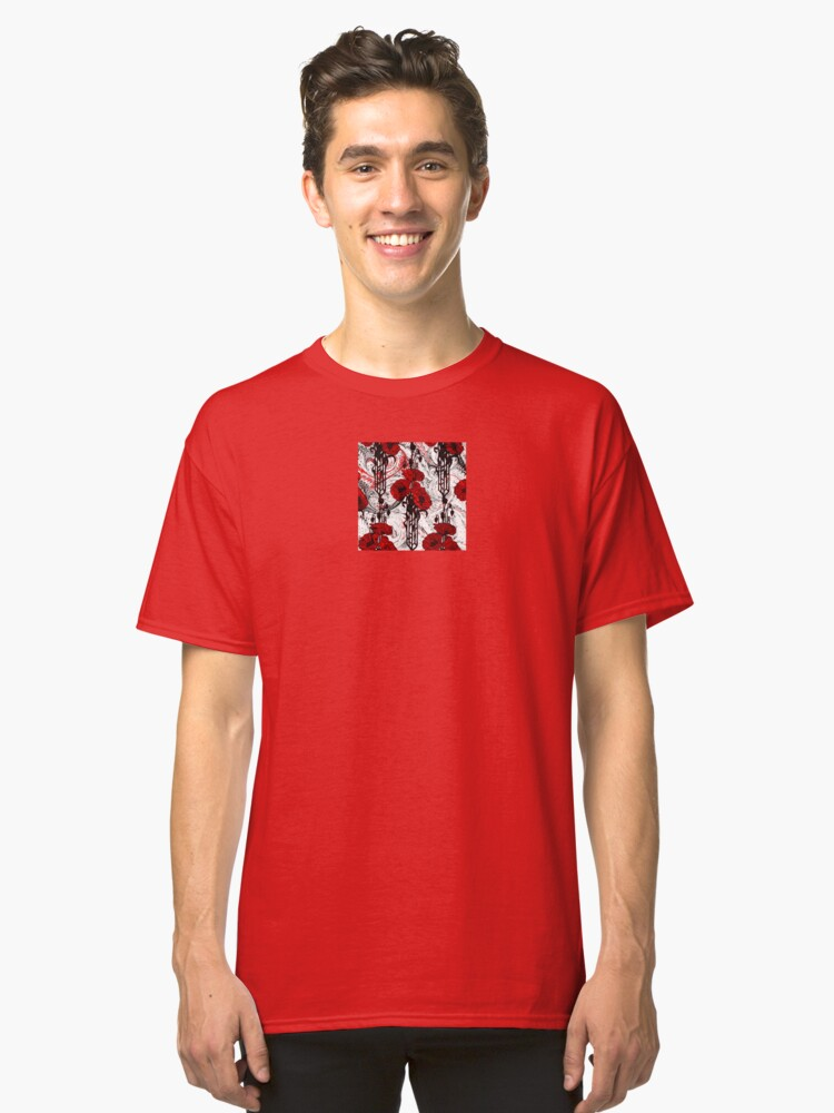 Alternate view of Art Nouveau Poppy Dream III, Red, Black and White Classic T-Shirt