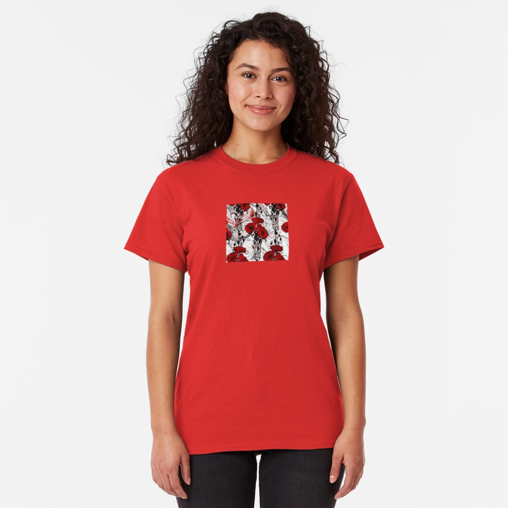 Art Nouveau Poppy Dream III, Red, Black and White Classic T-Shirt