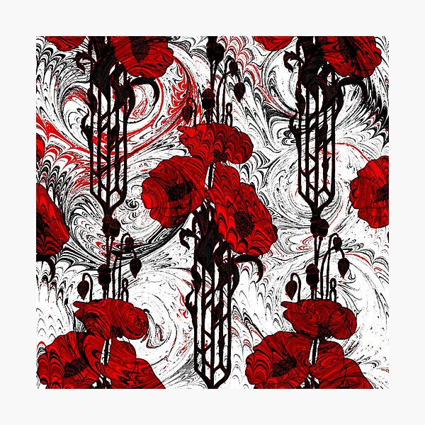 Art Nouveau Poppy Dream III, Red, Black and White Photographic Print