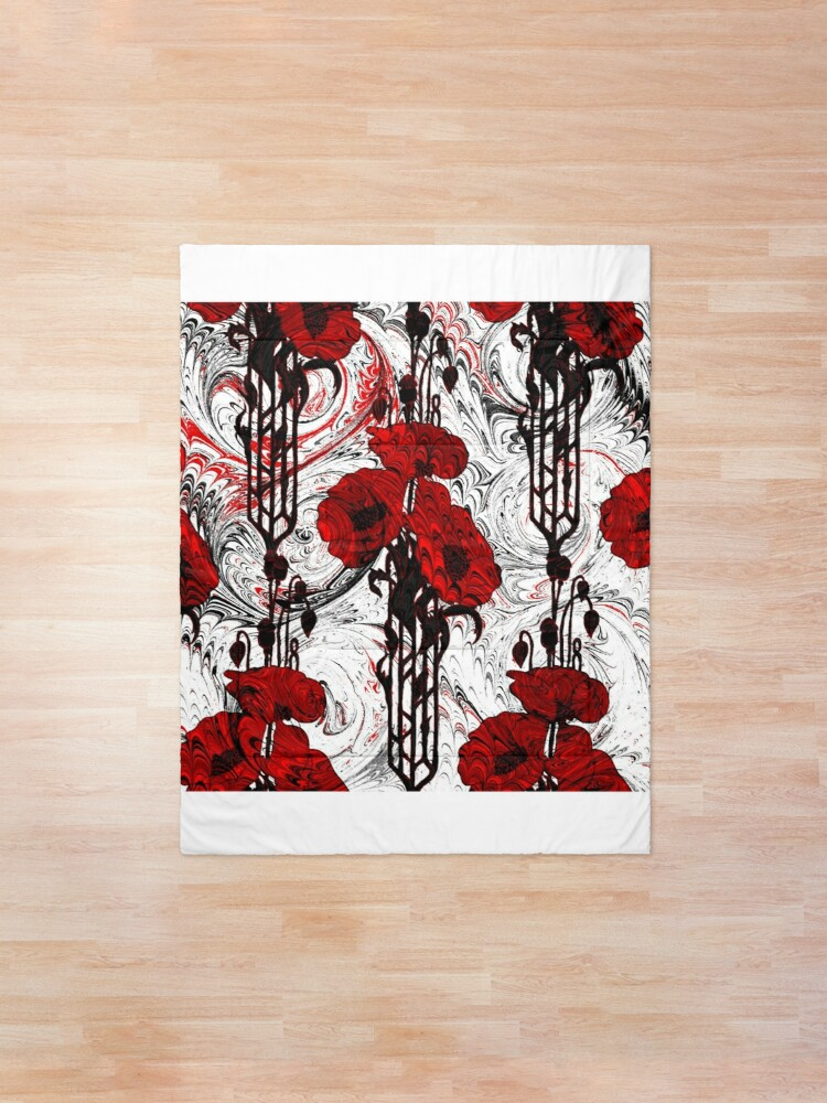 Alternate view of Art Nouveau Poppy Dream III, Red, Black and White Comforter