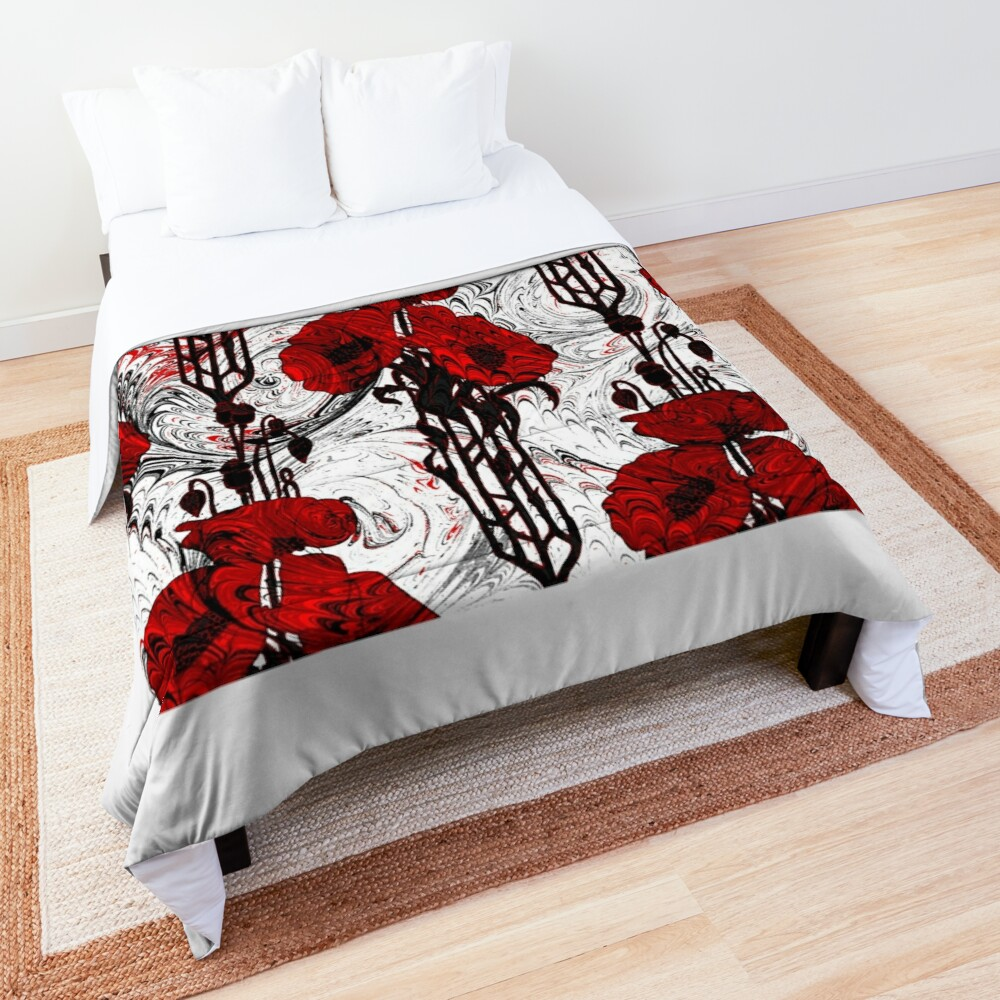 Art Nouveau Poppy Dream III, Red, Black and White Comforter