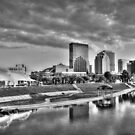 Dayton Skyline - Black and White by Christopher Herrfurth