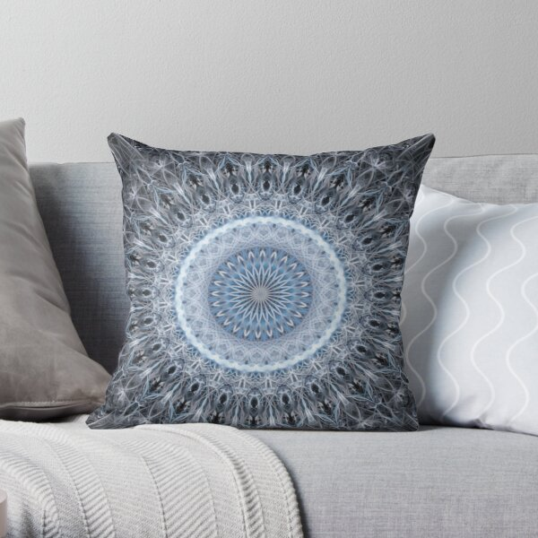 Silver and blue mandala Throw Pillow