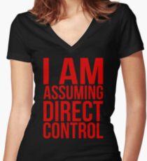 """Mass Effect 2 - """"I Am Assuming Direct Control"""" Women's Fitted V-Neck T-Shirt"""