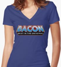 """BACON """"Best In The Universe"""" Women's Fitted V-Neck T-Shirt"""