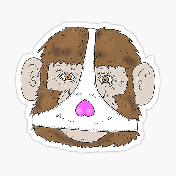 Monkey Wearing a Ladies Thong for Face mask Sticker