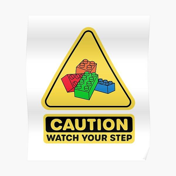 Attention Surveillez votre bloc de construction en brique de jouet étape Poster