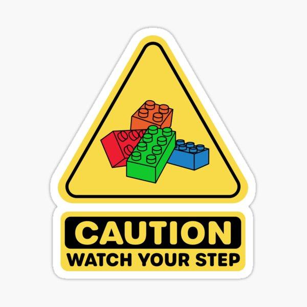Attention Surveillez votre bloc de construction en brique de jouet étape Sticker