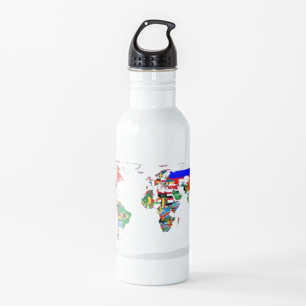 World Map with Country Flags Water Bottle