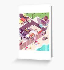 Isometric Beach City Greeting Card