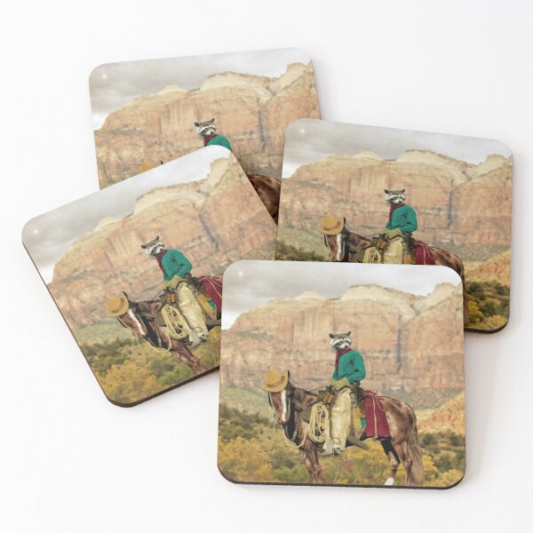 Western Raccoon Cowboy - Old Rocky Bill Coasters (Set of 4)