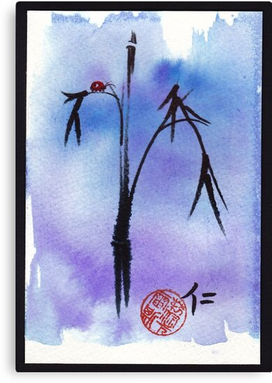 """Kindness"" - watercolor & ink brush pen mixed media painting ladybug & bamboo by Rebecca Rees"
