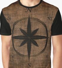 Nostalgic Old Compass Rose Design Graphic T-Shirt