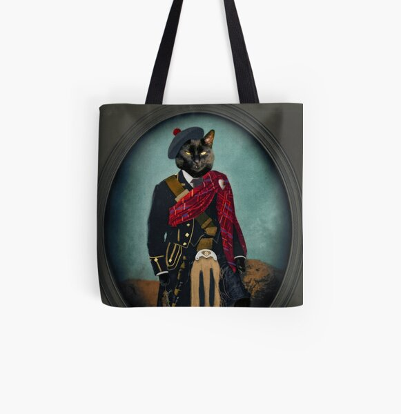 Scottish Black Cat Art - Boris the Bruce- Mouser-in-Chief All Over Print Tote Bag