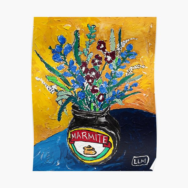 Wildflower Bouquet in Marmite Vase on Mustard Gouache Still Life Painting Poster