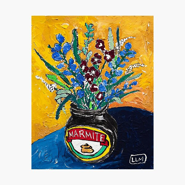 Wildflower Bouquet in Marmite Vase on Mustard Gouache Still Life Painting Photographic Print