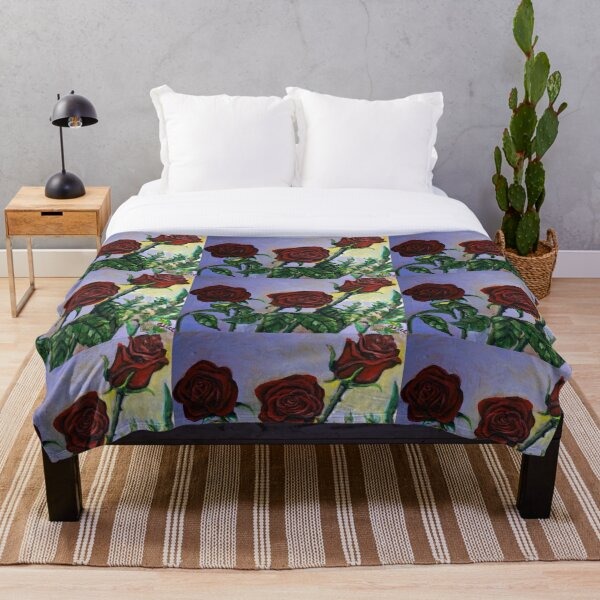 Red Roses Floral Art  Throw Blanket