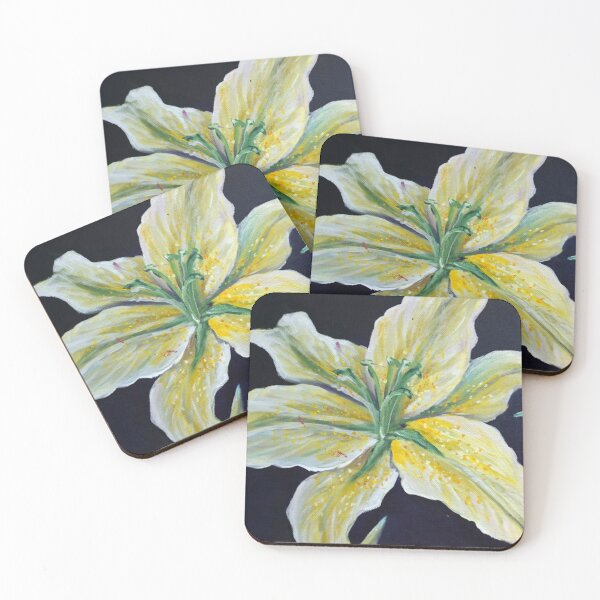 Yellow Lily Flower Floral Art  Coasters (Set of 4)