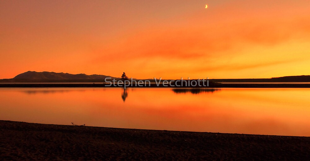 Crescent Moon At Sunset by Stephen Vecchiotti