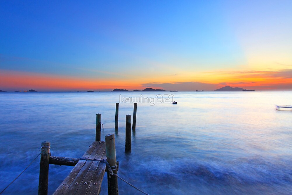 Sunset at a wooden pier in Hong Kong by kawing921