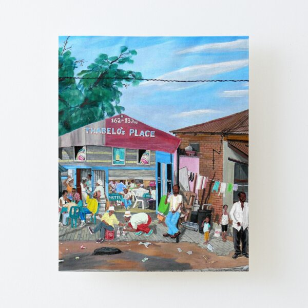 Tommy Machaba - Over at the Shebeen Canvas Mounted Print