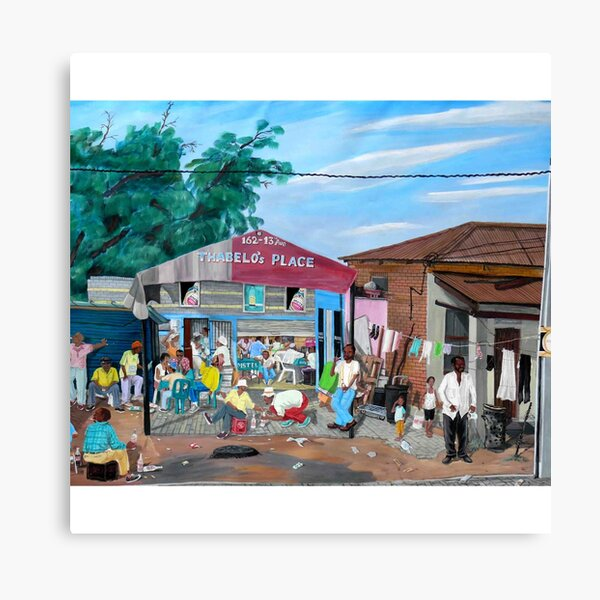 Tommy Machaba - Over at the Shebeen Canvas Print